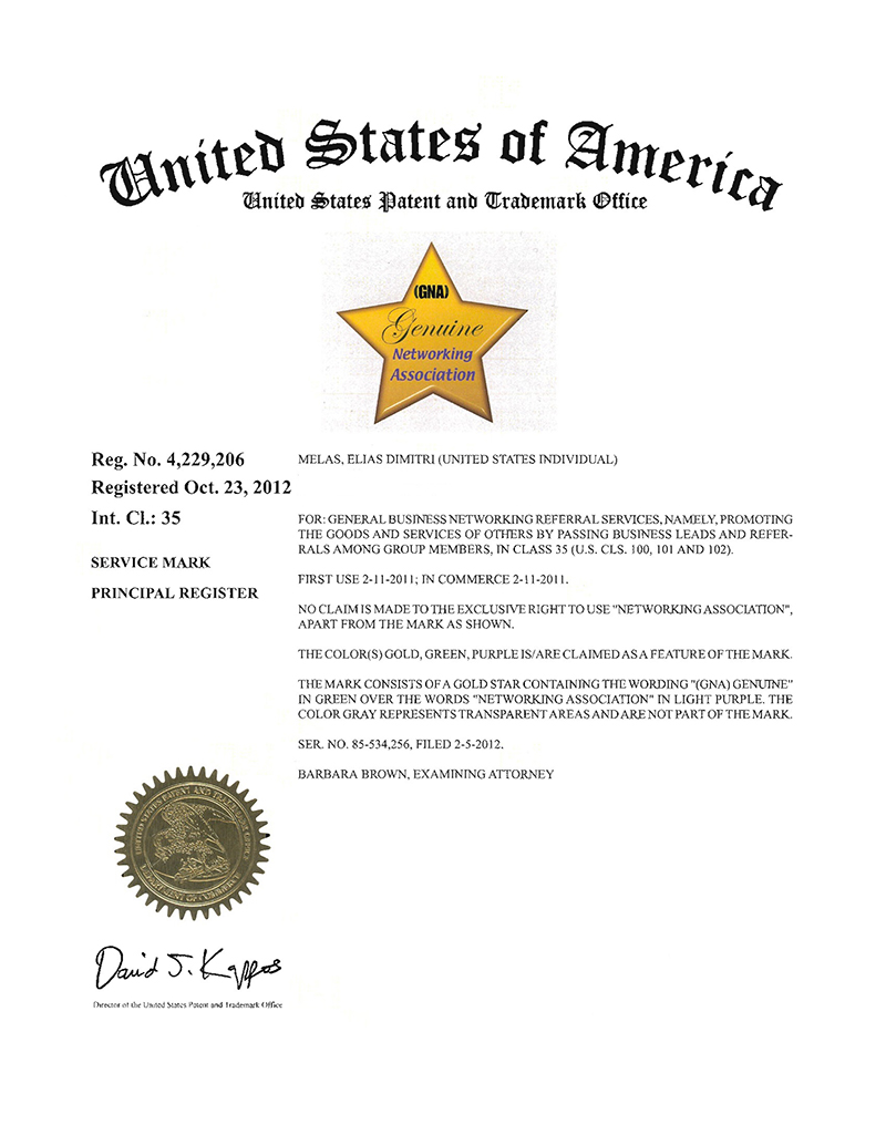 (GNA) Registered Trademark – Officially Registered 10/23/12
